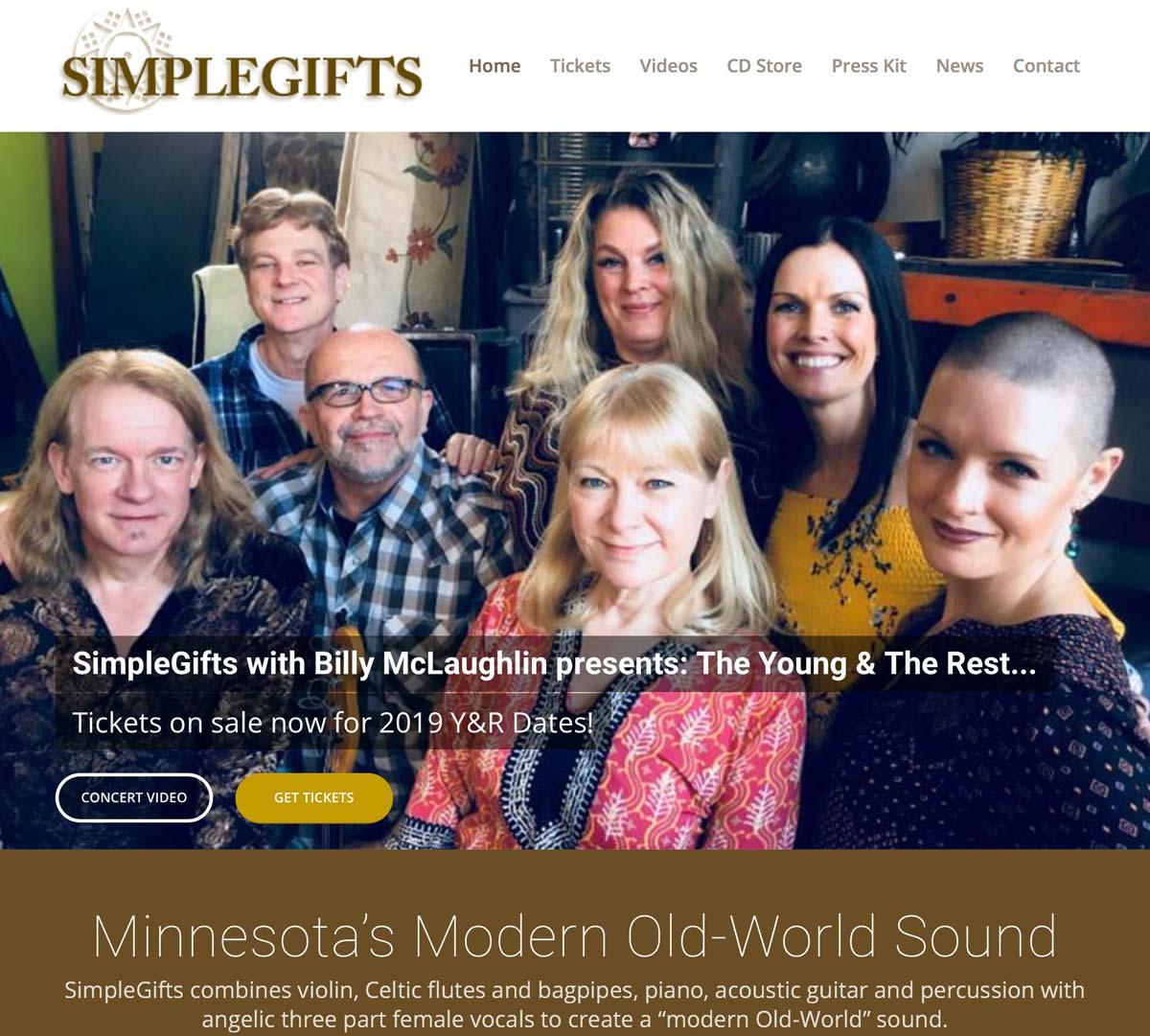 WordPress Website Design for SimpleGifts Billy McLaughlin