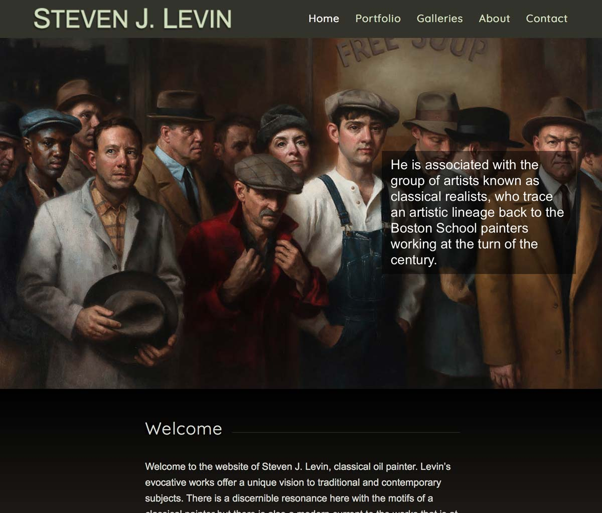 Website for Professional Artist Steven Levin